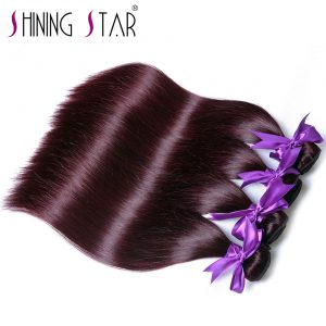 Burgundy Brazilian Hair Straight Bundles Red Hair Extensions Weave Shining Star Non Remy Human Hair 10-26 inches Thick Weft 1Pc