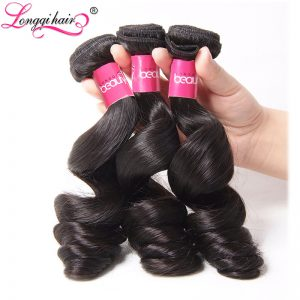 LONGQI HAIR Loose Wave Brazilian Hair Bundles Natural Color Non Remy Human Hair Weave 16 18 20 22 24 26 Inch 1PC Free Shipping