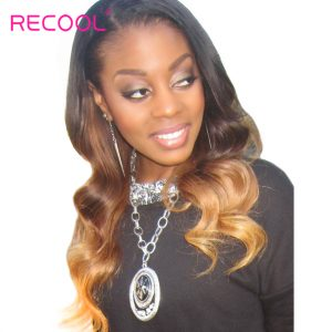 Recool Ombre Brazilian Hair Weave Bundles 1b/4/27# Body Wave Human Hair Bundles 3 Tone Non Remy Hair Extension Free Shipping