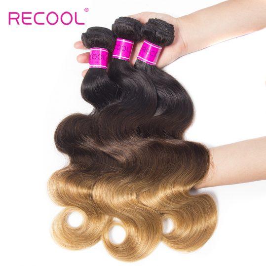 Recool Ombre Brazilian Hair Weave Bundles 1b/4/27# Body Wave Human Hair Bundles 3 Tone Non Remy Hair Extension Free Shipping