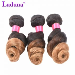 Luduna Ombre Brazilian Loose Wave Hair Bundles Human Hair Weave Bundles 1B/27 Color 2 Tone Non-remy Hair Extensions Can Buy 4Pcs
