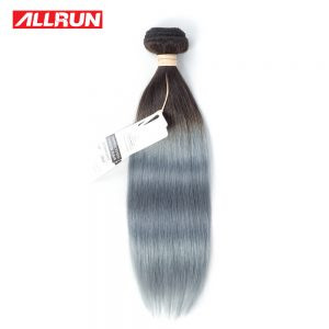 "ALLRUN Brazilian Straight Hair T1b/grey Ombre Hair Bundles 100% 14""-20"" Non Remy Ombre Human Hair Extensions Free Shipping 1PC"