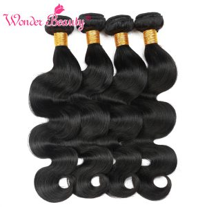 Brazilian Non-remy human hair Wonder beauty hair weaving body wave mixed length from 8 to 26 inches natural black color 1bundles