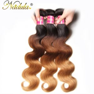 Nadula Hair Brazilian Body Wave Ombre Hair 16-26inch Non Remy Hair 100% Human Hair Weave T1B-4-27 Color Can Mix Bundles Length