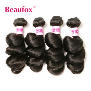 Beaufox Brazilian Loose Wave Bundles 100% Human Hair Weave Natural Color Can Buy 3 Or 4 Bundles Non-remy Hair Extension