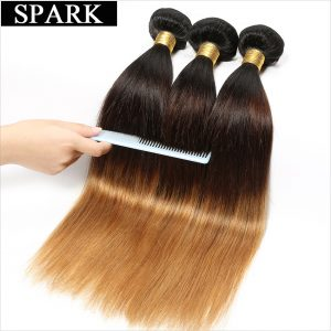 "Spark 1PC Ombre Brazilian Straight Hair Weave Bundles 1B/4/27 3 Tone Human Hair Extensions 12""-26"" non Remy Hair Free Shipping"