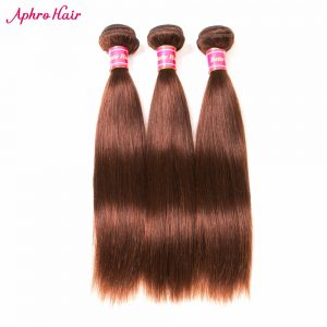"Aphro Hair Brazilian Straight Hair 1 Piece Non-Remy Hair Bundles 100% Human Hair Extensions 8""-28"" Free Shipping Light Brown #4"