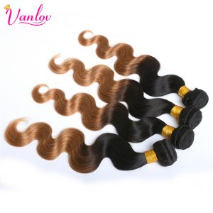 Vanlov Ombre Brazilian Body Wave Human Hair Weave Bundles Blonde Hair Extension 2 Tone T1B/27 Non Remy Can Buy 3/4/5 Bundles