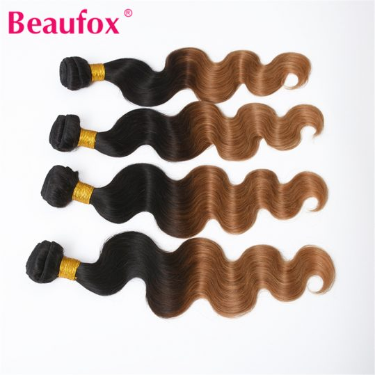 Beaufox Ombre Brazilian Hair Body Wave Blonde Human Hair Weave 2 Tone 1B/27 Color Can Buy 3 or 4 Bundles Non-remy Hair