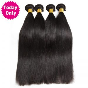[TODAY ONLY] Brazilian Straight Hair Bundles 100% Human Hair Weave Bundles Natural Black Color Non Remy Hair Can Buy 3 or 4 Pcs
