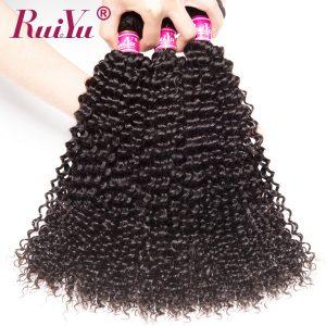 "RUIYU Afro Kinky Curly Hair Brazilian Hair Weave Bundles Human Hair Extensions Non Remy Hair Bundles Natural Color 10""-28"" 1PC"