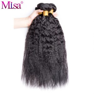 Brazilian Kinky Straight Hair Weave Extensions 1 Pcs Only Mi Lisa Non Remy Yaki Human Hair Bundle 10-28 inches Can buy 4 bundles