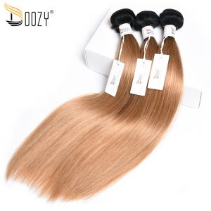 Doozy ombre color 1b/27 Brazilian straight hair bundles double weft non remy two tone honey blonde human hair weaving