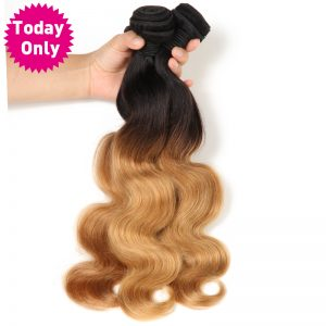 [TODAY ONLY] Ombre Human Hair Brazilian Body Wave Bundles Blonde Hair Two Tone 1b 27 Non Remy Hair Weave Bundles Can Buy 3 or 4