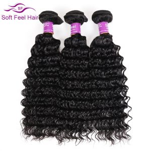 Soft Feel Hair Brazilian Deep Wave 1 Piece Human Hair Extensions 8-28 Inch Non Remy Hair Weave Bundles Natural Color Free Ship