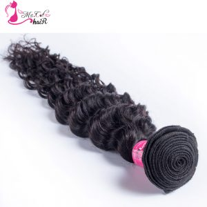 Deep Wave Brazilian Hair Ms Cat Hair 1 Bundle Natural Color 100% Human Hair Weave Non Remy Hair Extensions Free Shipping