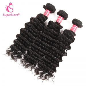 Supernova hair Brazilian  1 piece Deep Wave 100%  Human Hair Bundles Natural Black Color Shipping Free Non-Remy Hair