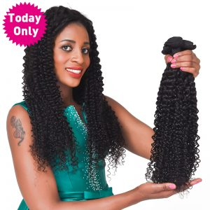 [TODAY ONLY] Brazilian Kinky Curly Weave Human Hair Bundles Natural Black Color Non Remy Hair Extensions Can Buy 3 or 4 Bundles