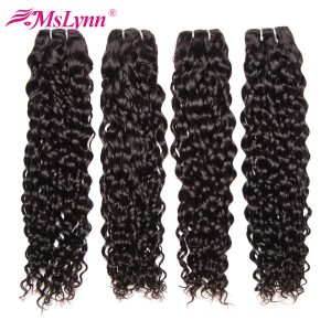 Mslynn Hair Water Wave Bundles Human Hair Extensions Natural Color Brazilian Hair Weave Bundles Non Remy Hair Can Buy 3 Or 4 Pcs