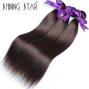 Light Brown Brazilian Color 4 Straight Hair Weave Bundles 100% Human Hair Extensions Shining Star Non-Remy 10-26 1Pc full bundle