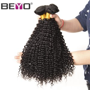 Beyo Brazilian Kinky Curly Hair Weave Bundles 10-26 Inch 100% Human Hair Bundles Natural Color 1 PCS Non-Remy Hair Free Shipping