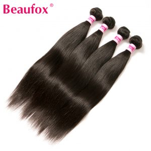 Beaufox 100% Unprocessed Human Hair Peruvian Virgin Hair Straight Bundles Can Buy 3 Or 4 Bundles Natural Color Extension