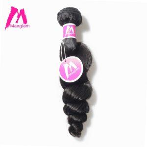 Maxglam Peruvian Virgin Hair Loose Wave Human Hair Bundles Weave Extension 1PC Free Shipping
