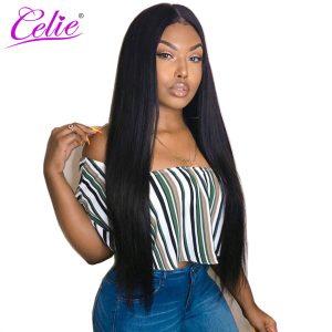 Celie Hair Peruvian Virgin Hair Bundles 100% Unprocessed Human Hair Weave Extensions Natural Black Color Straight Hair Bundles