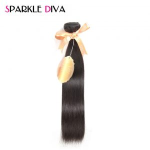 """[SPARKLE DIVA HAIR] Straight Peruvian Virgin Hair Unprocessed Human Hair Weave Bundles 12""""-28"""" Inch Natural Color 1 Piece Only"""