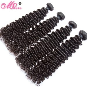 Peruvian Virgin Hair Bundles Deep Curly Weave Natural Color Mshere Human Hair Extensions Can Be Dyed