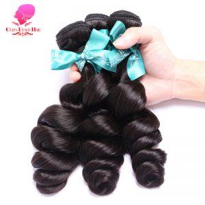QUEEN BEAUTY HAIR Peruvian Loose Wave Virgin Hair Weaving 1 Piece Natural Color 100% Unprocessed Human Hair Bundle Free Shipping