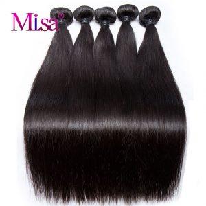 Peruvian Straight Virgin Hair Can Buy 3 or 4 Bundles 1 Piece Only Free ship Mi Lisa Hair Weave Extension 100% Human Hair Bundles