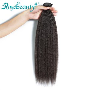 Rosa Beauty Peruvian Virgin Hair Kinky Straight Hair 1 Piece 100% Natural Human Hair Weaves Bundles Shipping Free
