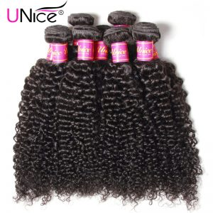 """UNice Hair Company Peruvian Hair Kinky Curly Weave Human Hair Bundles Natural Color Non Remy Hair 1 Piece 8""""-26"""" Can Mix Length"""