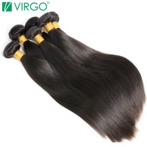 V Only Virgo Hair Products Peruvian Straight Hair 1 Piece Natural Black Non Remy 100% Human Hair Extensions Can Buy 3/4 Bundles