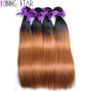 Straight Ombre Peruvian Human Hair Bundles 10-26 inches 1b 30 Two Tone Blonde Weave Bundles Shining Star Non Remy Thick Weft 1Pc