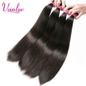 Vanlov Peruvian Straight Human Hair Bundles Jet Black Human Hair Extensions Non Remy Weave Natural Color Can Buy 3 or 4 Bundles