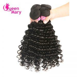 "Queen Mary Peruvian Deep Wave Hair Extensions 10""-26"" 100% Human Hair Weaving 1 Bundle Natural Color Non-Remy Hair Bundles"