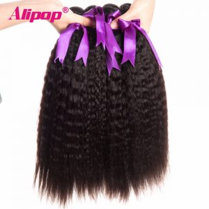 ALIPOP Peruvian Kinky Straight Hair Bundles Human Hair Bundles Non Remy Hair Extensions Natural Black Color 1pc/lot Can be Dye
