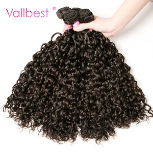 Peruvian Water Wave Bundles Human Hair Weave Extension Peruvian Hair Bundles 100g/Piece Natural Black Vallbest Non-Remy Hair