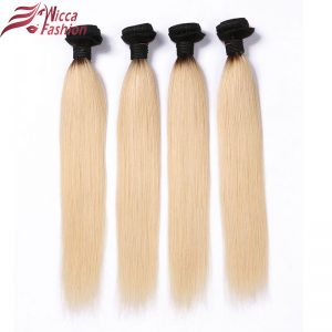 Dream Beauty Ombre Peruvian Hair Straight Hair Bundles 1 PC 1B/613 ombre Blonde Non-Remy Human Hair Extensions 8-28 Inches
