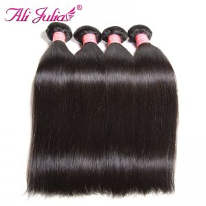 Ali Julia Hair Peruvian Hair Straight 8-30 Inch Human Hair Bundles One Piece Non Remy Can Choose 3 or 4 Bundles or Mixed Inch