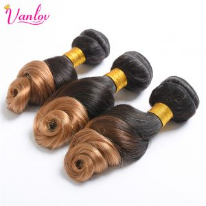 Vanlov Ombre Peruvian Loose Wave Human Hair Bundles Blonde Hair Extension 2 Tone 1B/27 Non Remy Weave Can Buy 3/4 Bundles