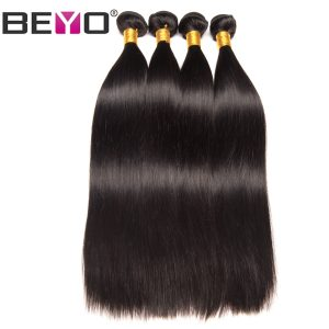 Beyo Hair Peruvian Straight Hair Bundles 10-26 Inch 100% Human Hair Weave Bundles Natural Color 1 Piece Non-Remy Hair Extension