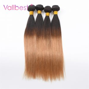 Vallbest Peruvian Straight Ombre Hair Bundles T1B/27 Color 2 Tone Human Hair Bundles  Peruvian Hair Non-Remy Hair Thick Weft