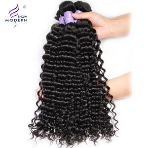 Modern Show Hair Malaysian Curly Hair Weave Bundles Remy Human Hair Extensions 1Pcs 1B Color 10-28inch Can Buy 3/4 Hair Bundles