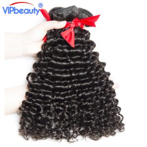 Vip beauty Malaysian deep curly remy hair bundles 1pcs/lot hair extension human hair bundles can buy 3 or 4 bundles