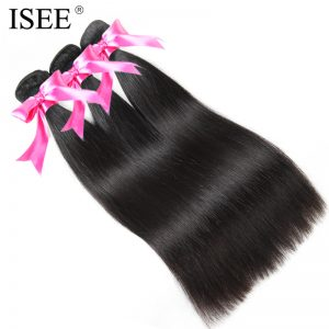 ISEE Malaysian Straight Hair Weave Human Hair Bundles 10-26 inch Remy Hair Extension Nature Color Free Shipping