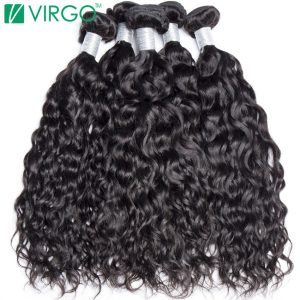 Virgo Hair Company Malaysian Water Wave Human Hair Weave Bundles 1 Pc 100% Natural 1B Remy Hair Can Be Dyed Won't Lose Pattern