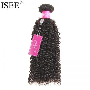 ISEE Malaysian Virgin Hair Kinky Curly 100% Human Hair Weaving Bundles  10-26 inch Machine Double Weft Free Shipping